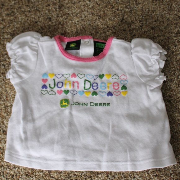 John Deere Girls Pink/White 6-9M Shirt